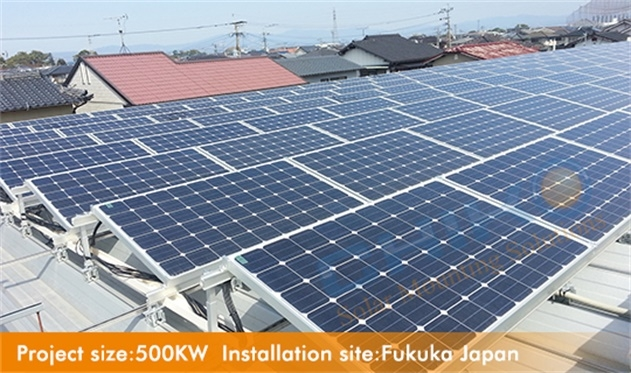 Commercial metal roof, CHIKO adjustable tilt kit 10-15degree with universal roof Clamp solution performance well located in Fukuoka, Japan