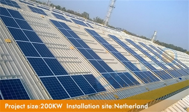 Commercial warehouse solar power plant 200KW corrugated metal roof—hanger Bolt with L feet mounting solution located in Netherland
