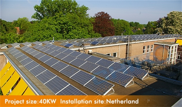 Commercial warehouse solar power plant 40KW flat roof using chiko ballast system located in Amsterdam Netherland